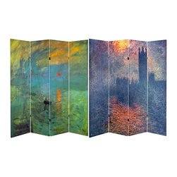 Oriental Furniture - 6 ft. Tall Double Sided Works of Monet Canvas Room Divider - Impression Sunrise - Add a cultured accent to any room with two of Claude Monet's most breathtaking landscapes. On the front is Impression, Sunset, the painting of Le Hauve Harbor that launched the entire Impressionist movement. On the other side is a complementary depiction of the sun setting over the Houses of Parliament. Printed on art-quality natural canvas wrapped around a lightweight and durable spruce frame, this divider vividly recreates two of Monet's masterpieces.