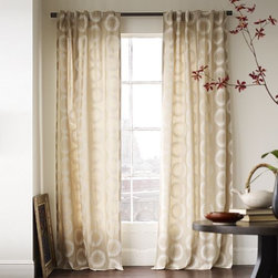 Wood-Block Circles Window Panel - Woodblock circles embellish opaque cotton canvas panels for a look of casual refinement.