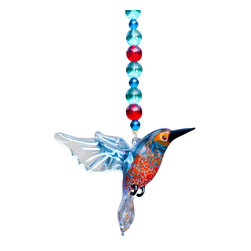 "Spirit Pieces - Handmade Glass Kingfisher with Crystal Beading - Great Birdhouse Decoration - This is a wonderful addition to any bird house or bird feeder.  About 10 inches long, hangs either underneath or nearby as an eye-catching sun-catcher.  Kingfisher is handmade from premium Pyrex glass and roughly 2.5"" x 2.5"" in length.  Suitable for all weather conditions, comes with a crystal angel top-piece."