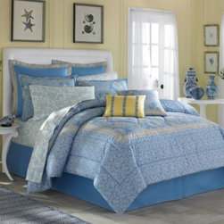 Laura Ashley - Laura Ashley Home Prescot Twin Duvet Cover Set - Prescot bedding brings the feel of a day spent in a country home. A creamy white floral pattern on a light blue background is accented by yellow and a quilted design, edged in a boxed stitch.