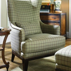 Chelsea Home - Lamesa Accent Chair - Includes toss pillow. Rivercrest smoke cover. Feather blend seating system. Stylized wing. Wooden base with tapered legs with soft distressed antiquing. Soft feather blend down encases the high resilient foam for a soft initial feel and supportive sensation. Wrap around of the chairs design cuddles and supports. Throw pillow adds extra lumbar support. Single pub back. Boxed seat cushions allow deep seating pleasure and full support. Two seat cushions attached. High tensile sinuous wire seat springs attached with insulated clips and tie wires to minimize shifting and create a controlled deep seating area. High density 2.2 ILD foam seat cores completed with a baffled feather blend down topper produce a supportive and resilient seating comfort. Made from furniture grade laminated wood and solid wood. Antique espresso color. No assembly required. Seat: 23 in. W x 22 in. D x 20 in. H. Overall: 37 in. W x 31 in. D x 45 in. H (64 lbs.)This accent chair add a designer touch to any home's environment. Furniture grade laminated wood and solid wood components are cut by CNC routers for tight joint tolerances then fitted together, similar to a jigsaw puzzle, to maintain integrity and structural strength in order to create a lasting foundation for the upholstery item. Key joints are corner blocked, glued, and affixed.