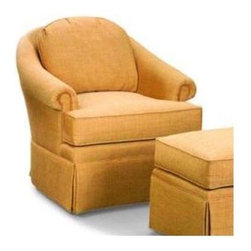 Fairfield Chair Company - Upholstered Lounge Chair w Tight Seat and Bac - Fabric: Fabric: EbonyPerfectly proportioned for comfort, this upholstered lounge chair has plush seat and back cushions offset with rolled arms. The arched back keeps you properly supported for watching TV, reading or simply relaxing. Choose your preferred fabric color and you're good to go. Ottoman not included. Standard ultra plush cushion. Nails available only on arm panels. Made from hardwood and fabric. Seat Height: 20 in.. Arm Height: 24.5 in.. Seat Depth: 19 in.. Inside Width: 19.5 in.. 33 in. W x 33 in. D x 34 in. HSooner or later our existing home furnishings lack luster and style and we yearn for updated styles, softer leathers and more colorful fabrics. The upholstered chair collection by Fairfield allows more flexibility in these decorating choices to meet your individual needs. Whether it is refurnishing an existing den or updating a home office, browse through our wide variety of chairs and you'll soon notice that we have a style to suit all your needs.
