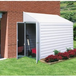 Arrow Yardsaver 4 x 7 ft. Shed - The Arrow Yardsaver 4 x 7 ft. Shed is a versatile and easy-to-assembly storage solution for any home. This spacious lean-to steel storage shed is crafted from durable galvanized steel for an extended life. The 4 x 7 foot storage shed offers 154 cubic feet of storage space ideal for long-handled lawn and garden tools, pool equipment, bicycles and more. For comfortably use, the interior height peaks at seven feet. The wood embossed steel panels make an attractive addition to any outdoor space that easily blends with any home.For easy assembly, all parts arrive pre-cut and pre-drilled; all you have to do is assemble. To facilitate the process, the steel pieces feature a drop-in design that assembles easily. For your convenience, the door may be placed on either of the four-foot sides of the structure. Though referred to as a lean-to shed, this storage shed stands on its own and does not require an addition structure for support Assembly is a weekend project for one or two people.Additional Features:Door dimensions: 38.5W x 60.25H inchesExterior dimensions: 49W x 79.75D x 82H inchesInterior dimensions: 47.75W x 77.5D x 81.25H inchesSize: 4 x 7 ft.About Arrow ShedsEstablished in 1962 as Arrow Group Industries, Arrow Sheds is now the worldwide leader in designing, manufacturing, and distributing steel storage sheds that are easily assembled from a kit. Arrow Sheds hasn't garnered its 12 million customers by resting on its laurels either. The company takes great pride in having listened to their customers over the years to develop quality products that meet people's storage needs. From athletic equipment to holiday decorations, from tools to recreational vehicles, Arrow Sheds prides itself on providing quality USA-built structures that offer storage solutions. Available in a wide variety of sizes, models, finishes, and colors - Arrow's sheds are constructed with electro-galvanized steel to be more affordable, durable, attractive, and easy to assemble.