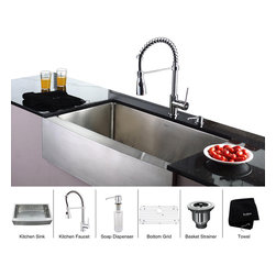 Kraus - Kraus 36 inch Farmhouse Single Bowl Stainless Steel Kitchen Sink with Chrome Kit - *Add an elegant touch to your kitchen with unique Kraus kitchen combo