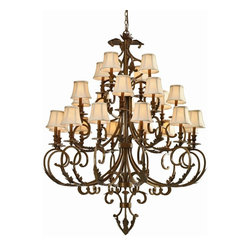 Crystorama - Crystorama Royal Chandelier - 52W in. Florentine Bronze - 6917-FB - Shop for Chandeliers from Hayneedle.com! Exquisitely ornate the Crystorama Royal Chandelier - 52W in. Florentine Bronze will take your foyer or dining room to the next level. Topped with elegant flared ivory fabric shades the tiered lights produce a warm and inviting glow. Richly swirled details complete this elegant look. Ideally suited to your traditional-style home this chandelier has been crafted from wrought iron with a Florentine Bronze finish. It boasts a dozen lights on three tiers and comes complete with six feet of chain and 12 feet of supply wire. Part of the Royal collection this striking chandelier will turn your home into a palace. It requires 24 candelabra-base 40-watt light bulbs which are not included.About Crystorama Inc.With more than 40 years of experience Brooklyn-based Crystorama Lighting has a worldwide reputation for premium-quality products and professional service. This family-owned company was founded in 1958 by Abraham Kleinberg. Originally dedicated to importing Bohemian chandeliers Crystorama now sources out the best quality crystal worldwide. These superior crystal brass and wrought iron chandeliers carry on a rich tradition of craftsmanship and authenticity.