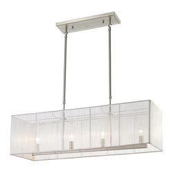 Z-Lite - Z-Lite Aura 4 Light Billiard/Island Light X-HW43-202 - The Aura family of linear shaded fixtures feature a stunning double line of multi faceted pyramid crystal. The string shades come in black, silver, and white, while the organza shades come in black and white. In all cases the fixtures are finished with brushed nickel hardware.