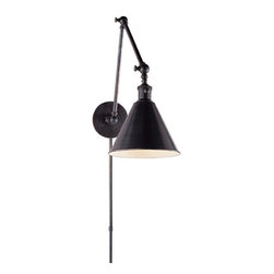 Boston Functional Library Light - I have seen these adjustable wall sconces in a bathroom. They have quite a presence and lend a Hamptons/nautical vibe to the space.