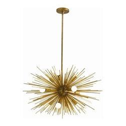 """Arteriors - Arteriors Zanadoo 12 Light Chandelier - Modern sphere shaped starburst motif 12-light iron chandelier in antique brass finish. Includes cylindrical ceiling mount and (1) 6"""" and (2) 12"""" rods."""