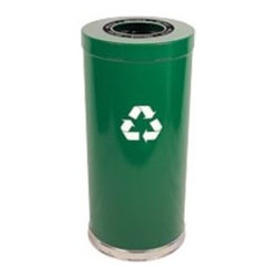 WITT Recycling Containers with Stainless Steel Bands - A trash basket and recycling container help keep control of all the paperwork. Paper products can easily be put aside for recycling.