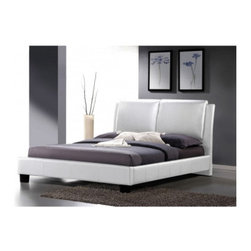 Baxton Studio - Luna White Modern Bed with Overstuffed Headboard - King Size - Leave the comfort of your bed to the mattress, pillows, and bedding but what to do about the style? Well, that is where the bed frame comes in! The luxurious overstuffed headboard and sleek minimalist style of ourLuna_ Modern Platform Bed will fit the bill with oodles of style. This white faux leather-upholstered king-sized bed is surprisingly plush, featuring an overstuffed polyurethane foam-padded headboard. The bed frame is made with engineered wood and comes with wooden slats, which function as a box spring (only a mattress is required). The Luna Bed should be wiped clean with a damp cloth.
