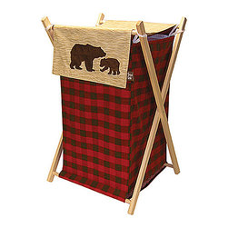 Trend Lab - Trend Lab Northwoods Crib Bedding Set - Hamper - The Northwood's Hamper by Trend Lab is a decorative solution for quick clean up. The marching buffalo check print body and coordinating wood grain print outer flap easily attaches to the collapsible pine wood frame. The fashionable color palette of deep red chocolate brown oak and flax make this hamper suitable for any room of the house. A bear applique adds the finishing touch! Machine washable inner mesh liner is removable making the transport of laundry effortless. Assembled hamper measures 27 in x 15 in x 15 in.