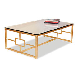 Kathy Kuo Home - Somrig Contemporary Antique Gold Leaf Boutique Coffee Table - A hand wrought iron base with an antiqued gold leaf finish is inset with tempered glass to form the perfect table.