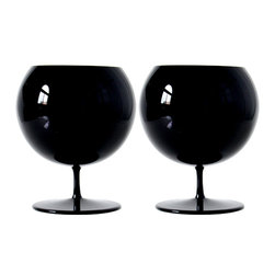 Martinka Crystalware & Lifestyle - Midnight Sky , Cognac Glasses (Set of 2) - These striking cognac snifters put a sensual twist to drinking cognac. Handmade from ultra light weight black glass, the black cognac glasses exhibit a warm purple hued interior when light passes through. Their modern yet casual style make them perfect for any occasion, and their eye-catching look make them a unique gift.