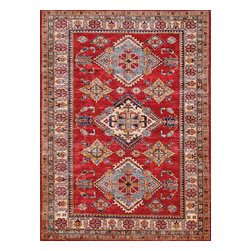 Rugsville - Rugsville  Kazak Red Wool 16512-566 5X6.6Rug - Our Super Kazak collection carries some of the finest pieces weaved in the Orient! These Kazaks are a modern shape