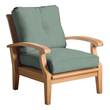 Douglas Nance - Set of 2, Douglas Nance Cayman Deep Seating Club Chairs, Spa - Douglas Nance Cayman has a distinctive casual flair with sumptuous cushions for premium relaxation. The cuts of teak are thick and solid yet the design curves offer a light, island feel. This collection also offers a loveseat and dining options. Includes made-to-order Sunbrella cushion.