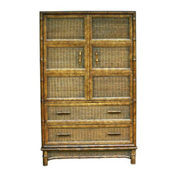 Used Vintage American of Martinsville Wardrobe - This sturdy piece of furniture is outlined in faux bamboo with wicker fronts and wooden, faux bamboo handles. Includes both drawers and cabinet space. Great for organizing your bedroom or office, or office bedroom. Would look fantastic lacquered in a punchy color for that totally Palm Beach look!