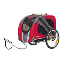 "DoggyRide - Novel Dog Bike Trailer - Features: -Bike trailer. -Converts to stroller/jogger with optional set and cabin suitable as crate. -Headrest cushion and reflection striping. -Lowered center of gravity for optimal stability. -Seat position and tow bar alignment designed for safety and stability. -Side support designed to prevent leaning to rotating wheels. -Fits through most doors with it's 30.5 inch (78 cm) width. -Two section roof-front opening designed for optimal riding pleasure for different breeds. -Stable and cleanable anti-slip floor with optional luxury pad. -Alloy rims and stainless steel spokes. -Optional roof rack for cycling vacation or groceries. -Kickstand is NOT included with this item. -Assembly required. Specifications: -20"" push release rear wheels. -Weight capacity: 110 lbs. -Max size dog 26"" (shoulder height). -Cabin dimensions: 26"" H x 21"" W x 32"" D. -Cabin dimensions: 26"" H x 21"" W x 32"" D."