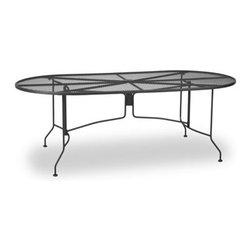 """Meadowcraft - Meadowcraft Wrought Iron 42 x 84 Oval Mesh Dining Table - Meadowcraft is a leading domestic manufacturer of quality wrought iron furniture and cushions located in Wadley Alabama.  With traditional and post war modern styles utilizing subtle understated designs Meadowcraft furniture is an excellent addition to any home. Whether choosing the deep seating comfort of a cushioned loveseat or the comfortable durability of a commercial grade mesh bistro chair you are invited to relax in all of Meadowcrafts products.  Meadowcraft takes the """"made in the U.S.A."""" label seriously and strives to exceed its perceived responsibilities to their customers and community.  Features include Made of extremely durable wrought iron material Hand formed by skilled craftsmen to insure the strongest furniture in the industry Offered in wide selection of powder coated finishes manufactured to prevent rust Oval shape design Metal table top Commercial Grade."""