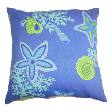 The Pillow Collection - Jaleh Blue 18 x 18 Coastal Throw Pillow - - Pillows have hidden zippers for easy removal and cleaning  - Reversible pillow with same fabric on both sides  - Comes standard with a 5/95 feather blend pillow insert  - All four sides have a clean knife-edge finish  - Pillow insert is 19 x 19 to ensure a tight and generous fit  - Cover and insert made in the USA  - Spot clean and Dry cleaning recommended  - Fill Material: 5/95 down feather blend The Pillow Collection - P18-ROB-BEACHBONGO-MARINE-OUT