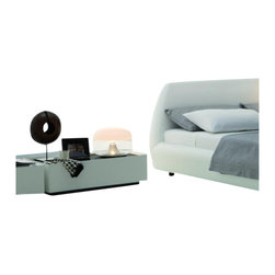 Rossetto - Rossetto Secret Large Night Stand With Glass in White - Rossetto - Nightstands - T286300211728 -  Black glass combined with high gloss lacquer brings a vogue appeal to the bedroom. This large size night stand will fit beautifully beside the Downtown Platform Bed (sold separately).