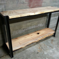 Live Edge Maple Credenza - Curly Maple Live Edge Slabs with Angle Iron.