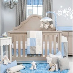 Glenna Jean - Glenna Jean Starlight 3-Piece Crib Bedding Set - The Starlight collection by Glenna Jean combines designer fabrics with high thread counts and features blue, white, warm grey and metallic silver. The 3-piece set includes a quilt, crib skirt and fitted white, softee sheet.
