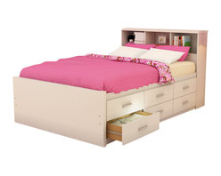 Sonax - Sonax Willow Captain's Storage Bed in Frost White-Twin - Sonax - Kids Beds - S111LWB - Stay organized by capitalizing on the space under your bed with the Sonax Frost White Captain's Bed with storage drawers. The Twin size offers six drawers on one side allowing you to position this bed against a wall or in the bedroom corner without losing any potential storage. Upgrade to the Full size an additional six drawers on the other side. Each of the drawers easily opens and slide on whisper-quiet high-quality ball bearing rollers. A matching thick panel storage headboard or flat headboard in matching Frost White finish is available but sold separately. No box spring is required so you can place your mattress directly on the sturdy wood slats. Rest comfortably on this bed proudly made in North America by Sonax.