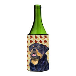 Caroline's Treasures - Rottweiler Fall Leaves Portrait Wine Bottle Koozie Hugger - Rottweiler Fall Leaves Portrait Wine Bottle Koozie Hugger Fits 750 ml. wine or other beverage bottles. Fits 24 oz. cans or pint bottles. Great collapsible koozie for large cans of beer, Energy Drinks or large Iced Tea beverages. Great to keep track of your beverage and add a bit of flair to a gathering. Wash the hugger in your washing machine. Design will not come off.