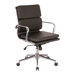 VIG Furniture - Modrest Edge Low-Back Modern Black Office Chair - The design of this modern office chair is based on the creator's passion and user's taste. This brown office chair is a great accompaniment to any desk. It has a high back rest that will support the back and keep you comfortable for hours at end. With this office chair, you can rest assured that your work will be your top priority.
