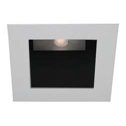 """WAC - WAC White - Black 4"""" LED Square Recessed Light Trim - Polish the look of your ceiling lights with this square recessed lighting trim in white. Made die-cast aluminum with a abrasion resistant powder coated paint. The trim has a black baffle for reduced glare. With a narrow flood beam spread and a 40 degree visual cutoff angle for light that is easy on the eyes. Use with insulated ceiling new construction and remodel housings. For use with WAC Lighting recessed products. Square recessed lighting trim. White finish. Black baffle. Die-cast aluminum construction. Abrasion resistant powder paint. Rated for one maximum 15 watt LED bulb (not included). For use with IC new construction and IC remodel WAC recessed housings. Housing not included. Narrow flood beam spread. Deep light source regression for low glare. 40 degree visual cutoff. 5 1/4"""" wide. 2 3/8"""" high. Less than 1/8"""" thick. Aperture is 4"""".  Square recessed lighting trim.   White finish.  Black baffle.  Die-cast aluminum construction.  Abrasion resistant powder paint.  Rated for one maximum 15 watt LED bulb (not included).  For use with IC new construction and IC remodel WAC recessed housings.  Housing not included.  Narrow flood beam spread.  Deep light source regression for low glare.  40 degree visual cutoff.  5 1/4"""" wide.  2 3/8"""" high.  Less than 1/8"""" thick.  Aperture is 4""""."""