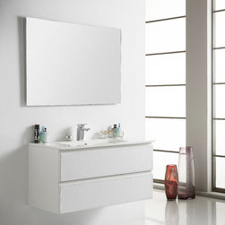 CUERO 40 INCH BATHROOM VANITY. WHITE LEATHER. - Made in Spain.