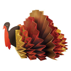 Turkey Rosette Centerpiece Kit - I love the idea of getting the kids involved to make the table decor. Here's a kit for one DIY turkey rosette centerpiece.