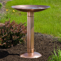 Roman Pillar Copper Pedestal Birdbath - Add a touch of classic architecture to your outdoor space with the Roman Pillar Copper Pedestal Birdbath.
