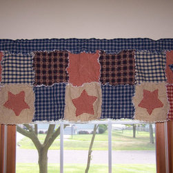 Curtain Valance, Frontier Primitive Homespun Rag Quilt By Kristin's Country Home - What a perfectly primitive way to frame a window!