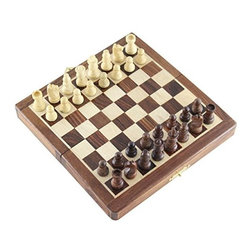 """SouvNear - SouvNear Wooden Chess Set With Magnetic Storage Board & Hand-Carved Pieces, 7"""" - * Handmade in one of the most beautiful natural grain hard woods - Indian rosewood, also known as """"Sheesham"""". The chess set is magnetic, so the pieces will move only when players make a move and not with the bumps in your ride. If playing at home, you can make your game last for days..."""