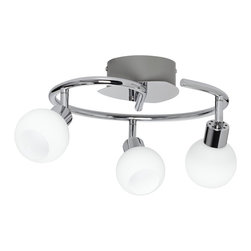 """ProTrack - Contemporary LED Pro Track® Brushed steel 3-Light Ceiling Fixture - This compact ceiling light design features 3 adjustable LED lights. Esch light has a 4 watt LED that offers bright long lasting and energy efficient lighting. Each light is adjustable so you can aim them as needed. Glossy brushed steel finish with white glass. 11 1/2"""" wide circle arm. Glass is 2 1/2"""" high 3"""" wide. Canopy is 5"""" wide 1 3/4"""" high.  LED ceiling light.  Glossy brushed steel finish with white glass.   With 3 LED lights.  Each with a 4 watt LED.  30 watt equivalent to incandescent each head.  240 lumens each head.  2700 kelvin.  Adjustable lights.  11 1/2"""" wide circle arm.   Glass is 2 1/2"""" high 3"""" wide.   Canopy is 5"""" wide 1 3/4"""" high.  Not Dimmable."""