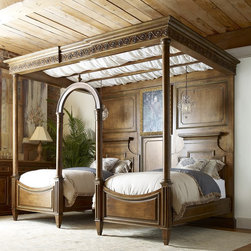 Handcarved Twin Beds Poster Bed - Hand-carved, sold wood twin beds poster bed. Classical luxury for Rancho Santa Fe estate homes, San Diego County and beyond.  High end furniture and fine accessories from Kern & Co furniture showroom in Solana Beach.