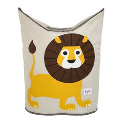 3 Sprouts - 3 Sprouts Laundry Hamper, Lion - Does laundry seem to be taking over your child's nursery or bedroom? Our 3 Sprouts yellow laundry hamper in cute lion pattern is the perfect solution. Two large handles collapse, creating an easy access circular opening that stylishly keeps dirty laundry out of sight. And when you're ready to go, simply lift the handles and tote your laundry away.