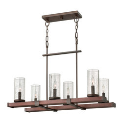 Frederick Ramond - Fredrick Ramond Jasper 6-Light Rectangular Chandelier - This transitional loft-inspired collection in our Rustic Iron finish features a combination of forged iron and smooth stained wood.