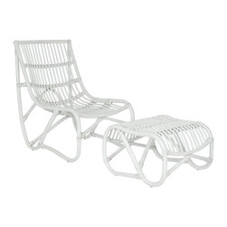 Safavieh - Shenandoah Chair - Inspired by mid-century modern rattan chair swings, the Shenandoah chair and ottoman bring a comfortable, minimalist design aesthetic to indoor spaces and covered outdoor porch or patio. Crafted of rattan in chic white finish, the curvy silhouettes of chair and separate ottoman ensure relaxation in style.