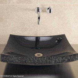 Zen Vessel - Black and beige granite have polished interior with chiseled sides, while the multi-color and white onyx versions are all polished.