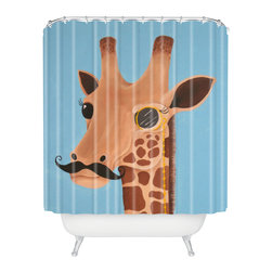 DENY Designs - Mandy Hazell Gentleman Giraffe Shower Curtain - Who says bathrooms can't be fun? To get the most bang for your buck, start with an artistic, inventive shower curtain. We've got endless options that will really make your bathroom pop. Heck, your guests may start spending a little extra time in there because of it!