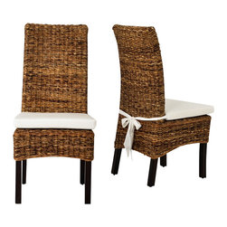 Four Hands - Banana Leaf Chair With Cushion, Brown - The Grass Roots Collection combines fitted lines with elegant texture, perfect for bringing the outdoors in. This comfortable line is made from all natural banana leaf, abaca, mahogany, and mango wood.