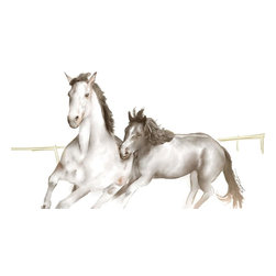 Mother and Colt - Canvas Painting - 18 x 24 Canvas Painting printed on a Professional grade bright white, poly-cotton canvas. Gallery wrapped and ready for hanging.