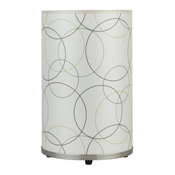 Meridian Medium Table Lamp, Circles on Silk Shade