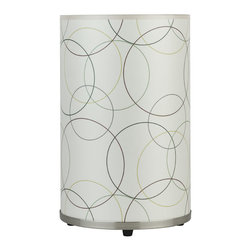 Lights Up! - Meridian Medium Table Lamp, Circles on Silk Shade - Look where the Asian lantern just landed! This updated version has gold and brown rings against a mostly white silk shade sitting in a brushed nickel base. Let it shine standalone or create a colorful glowing display with a grouping in mixed sizes — on a bookshelf or console table.