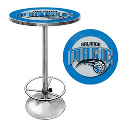 Trademark Global - Orlando Magic NBA Chrome Pub Table - Officially Licensed Art. Reverse Printed on .125 inch Scratch Resistant UV Protective Acrylic. Table Top is trimmed with Chrome Finished Plastic Banding. Chrome Base. Adjustable Foot Rest. Table Top Dimensions: 27.375 x 27.375 x 1.25 inches. Overall Dimensions: 27.375 x 27.375 x 42 inchesImpress your guests with your officially licensed chrome pub table. This fully functional pub table will be a stylish accent to your game room, garage or collection. The table top features an authentic logo trimmed with chrome finished plastic banding and is supported by a chrome base. The chrome base is both lightweight and durable. It features an adjustable foot rest for customizable comfort. Bring style, function and comfort to your game room, garage or collection with an officially licensed chrome pub table.