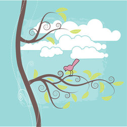 Homeworks Etc - Homeworks Etc Teal Bird Brown Tree White Clouds Teal Canvas Wall Art - Bird and Tree nursery canvas art is a beautiful whimsical design for a girls nursery.Great for a baby shower or birthday gift.  It's light weight design is easy to hang.  Measures 10 x 10 x 1.5 inches.  Perfect for use in  a children's bedroom.