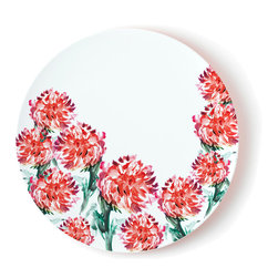 """Q Squared NYC - 16.5"""" Round Platter Madison Bloom Two-Tone - Brush Floral - You'll be serving in style with this large round platter. Made of melamine, it's lightweight and easy care, and features a bold, lively pattern — definitely not your grandmother's floral."""