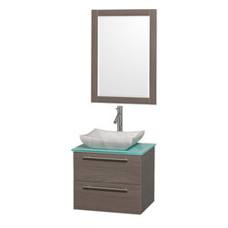 Wyndham - Amare 24in. Wall Vanity Set in Grey Oak w/ Green Glass Top & Carrera Marble Si - Modern clean lines and a truly elegant design aesthetic meet affordability in the Wyndham Collection Amare Vanity. Available with green glass or pure white man-made stone counters, and featuring soft close door hinges and drawer glides, you'll never hear a noisy door again! Meticulously finished with brushed Chrome hardware, the attention to detail on this elegant contemporary vanity is unrivalled.